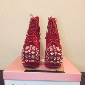 JEFFREY CAMPBELL Royal Lita in Red NEW in box